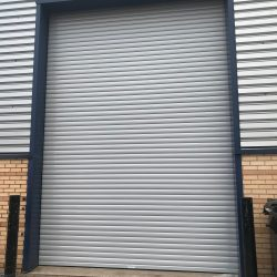 Industrial roller shutter installed at Tileflair in Swindon